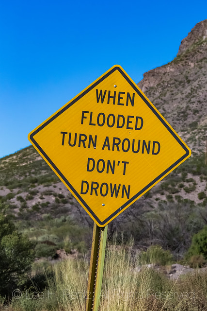 Flash Flood Caution Sign along Road to Oak Grove Campground