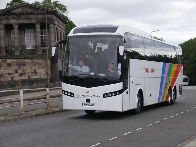 Shaw (The Traveller's Choice) of Carnforth Volvo B11RT Jonckheere SHV PO16LZR at Regent Road, Edinburgh, on 5 August 2019.