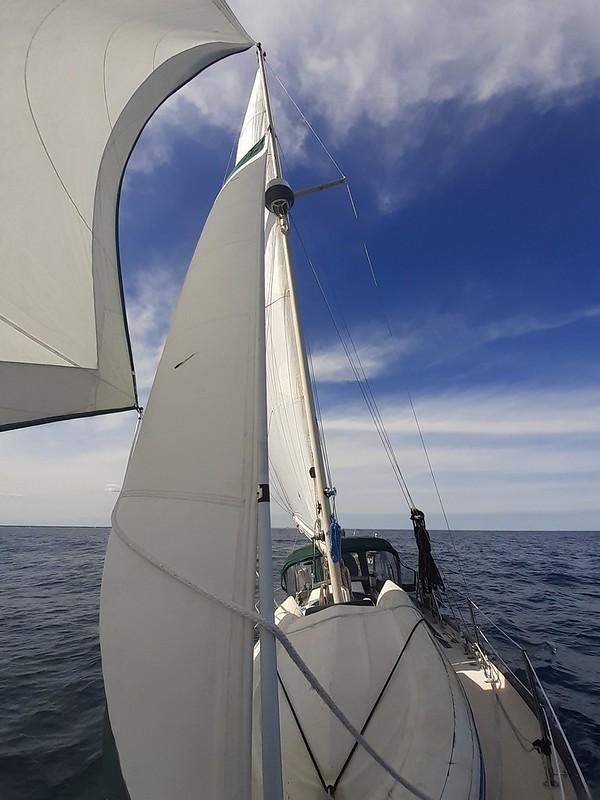 Full sail in the Atlantic Ocean