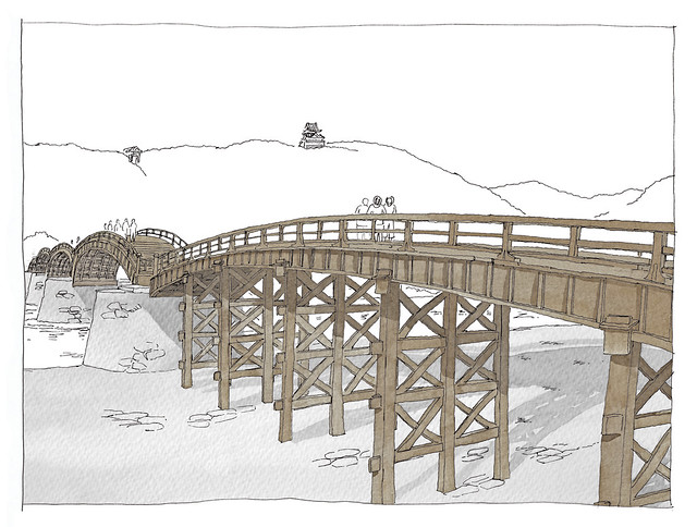 Japan, Iwakuni, Kintai bridge