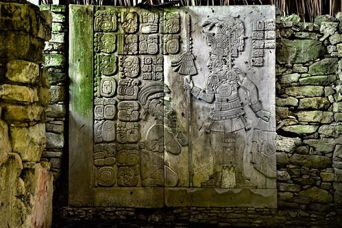Three doorways into the top of The Castle (El Castillo) of the Tulum ruins, Tulum, Mexico
