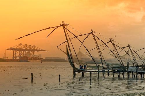 cochin inde india fisherman pêcheur sunset sea mer asie asia fishermannets net usine bird oiseau port harbor aube