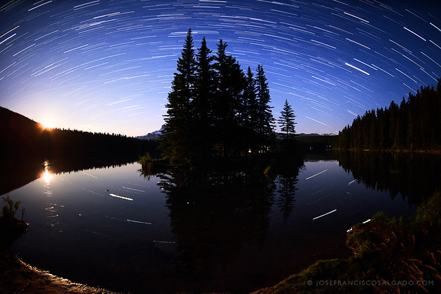 Moonrise and Star Trails at Banff National Park
