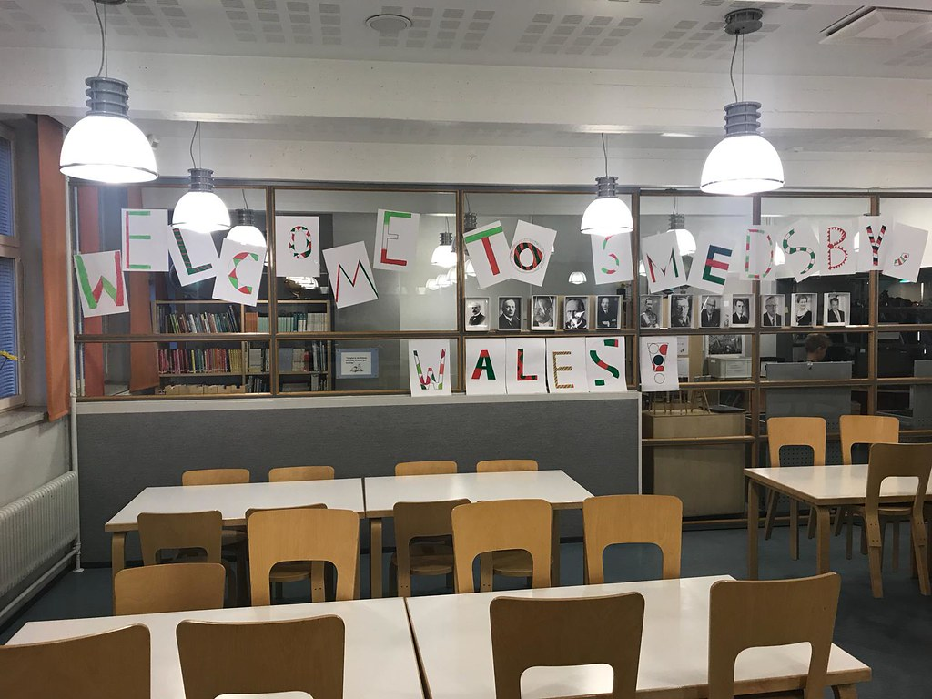 Portal Training host school classroom displaying 'Welcome to Wales' banner