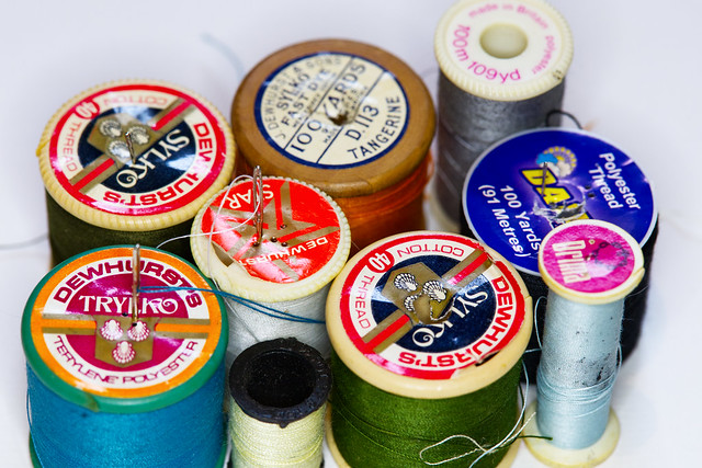 Crazy Tuesday - Repeating Object.   It should be obvious from the age of these reels of thread that I hate sewing.   One of the reels is measured in yards and another reel is measured in yards and metres.  IMG_2974
