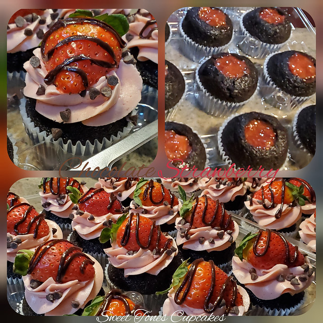 Chocolate-Strawberry Cupcakes-sweettonescupcakes