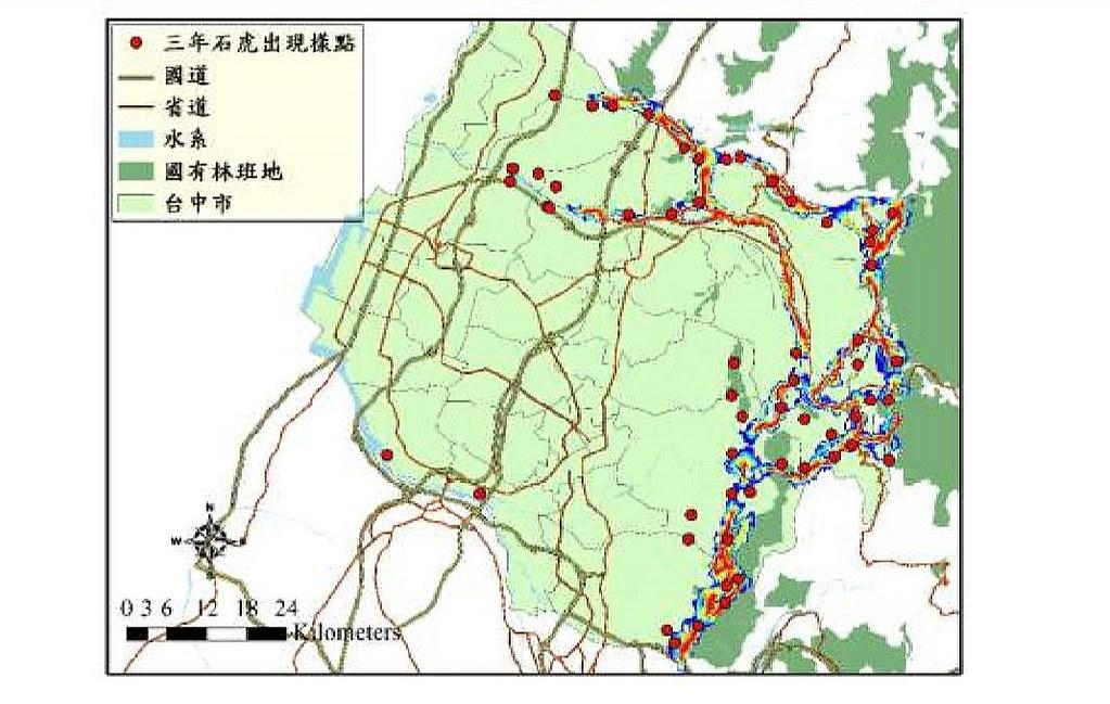 石虎核心族群棲地廊道分析,廊道由紅到黃再到藍,表示廊道阻力,越紅表示廊道阻力越小。圖片截自成果報告書。