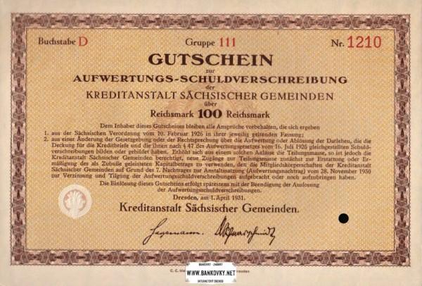 100 Reichsmark Nemecko 1931 dlhopis Kreditanstalt Sachs