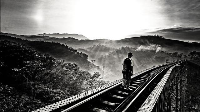 crossing train tracks