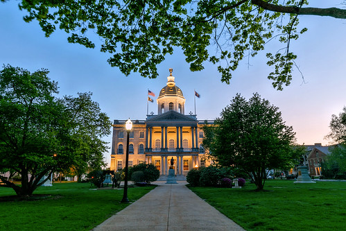 concord statehouse architecture downtown night evening spring sunset bluehour trees nh newhampshire newengland canon eos longexposure pretty day quiet light blue
