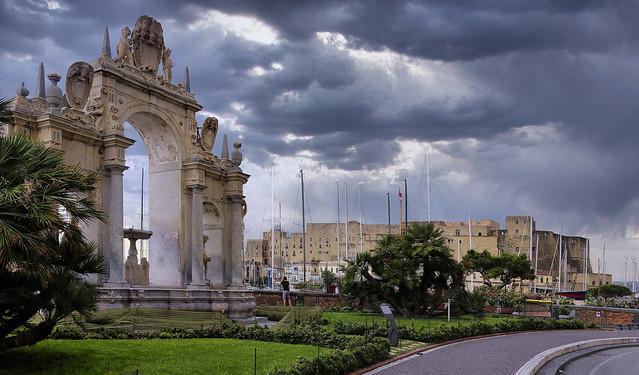 Fontana della Immacolatella next to the Ovo Castle in Napoli