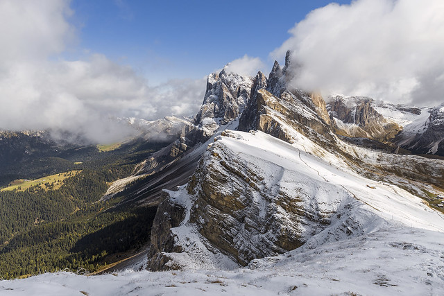 Winter In Full Force at 3,000 Metres, Seceda Mountain Range, Dolomites, Italy