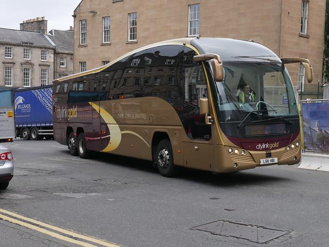 Parks of Hamilton Volvo B11RT Plaxton Elite LSK481, new in 2016, Citylink Gold liveried, operating service G92 to Edinburgh at Elder Street prior to entering Edinburgh Bus Station on 5 August 2019.