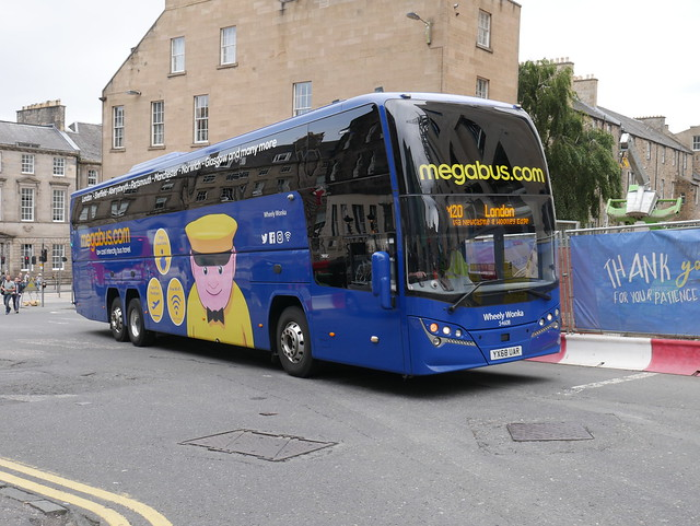 Stagecoach Midland Red South Volvo B11RT Plaxton Elite i YX68UAR 54608, in Megabus livery and named