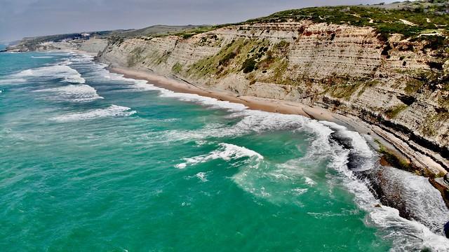 The craggy cliffs of Aguda Beach.