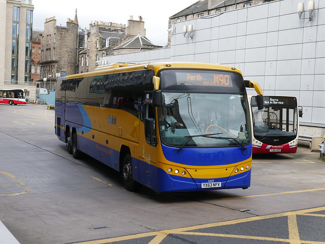 Stagecoach Volvo B13RT Plaxton Panther, in Citylink livery, YX63NFV 54129 operating service M90 to Perth departing Edinburgh Bus Station on 5 August 2019.