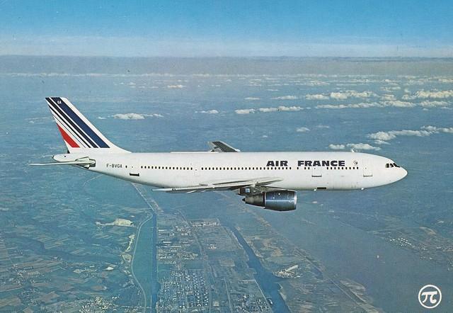 Postcard Air France Airbus A300B2-101 F-BVGA 1988a
