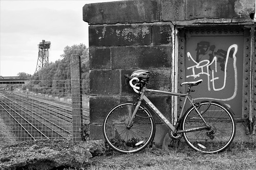 My Road Bike near the Railway line in Middlesbrough
