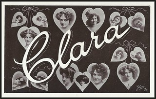 c. 1908 Raphael Tuck & Sons' Glosso Name Postcard (No. 22) - Reserved for Clara - Hanging Hearts with Real Photographs of Edwardian Actresses