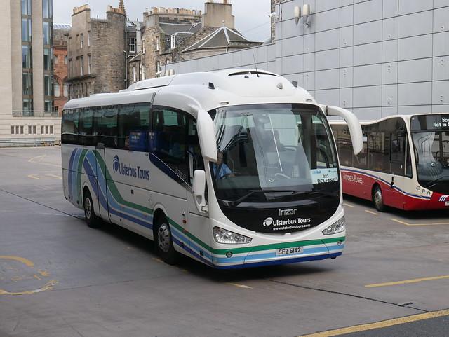 Ulsterbus Scania K360IB4 Irizar i6 SFZ6142 142, in Ulsterbus Tours livery, operating Citylink service 923 to Belfast departing Edinburgh Bus Station on 5 August 2019.