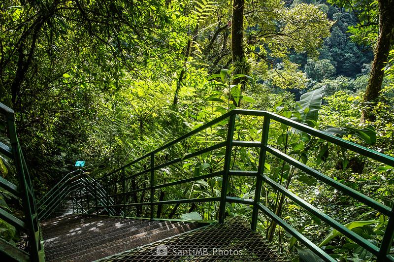 Escaleras de metal en el camino a la Catarata Río Fortuna