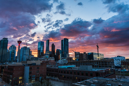calgary yyc canada sunset rain clouds cityscape weather downtown city sony sigma a6300 color