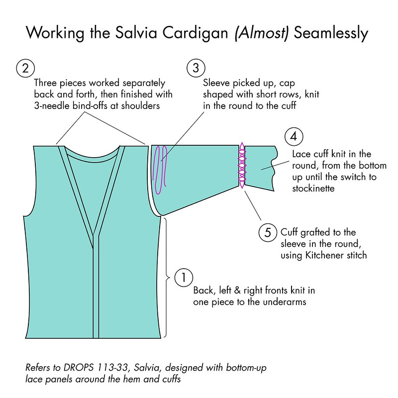 Diagram of a plan for knitting the Salvia Cardigan seamlessly