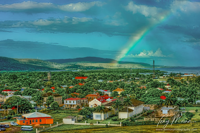 Sunbeams and rainbow over Falmouth