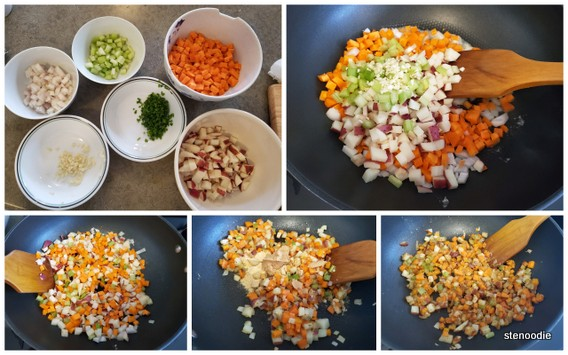 making vegetable fish chowder