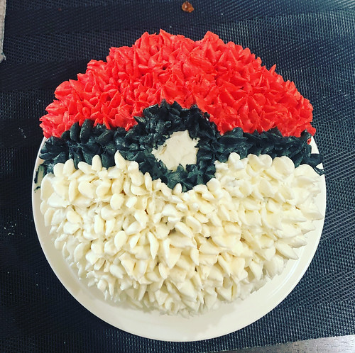 Pokéball birthday cake for my nephew's 9th birthday