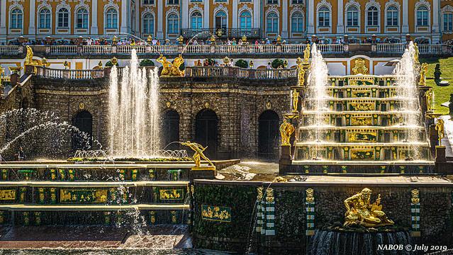 St Petersburg, Russia:  Grand Cascade of Peterhof Palace