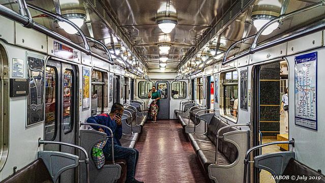 St Petersburg, Russia: Soviet era Metrowagonmash 81-717/714 rolling stock interior
