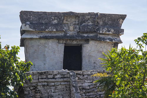 Stone lintel and carvings in one of the ruins, Mexico