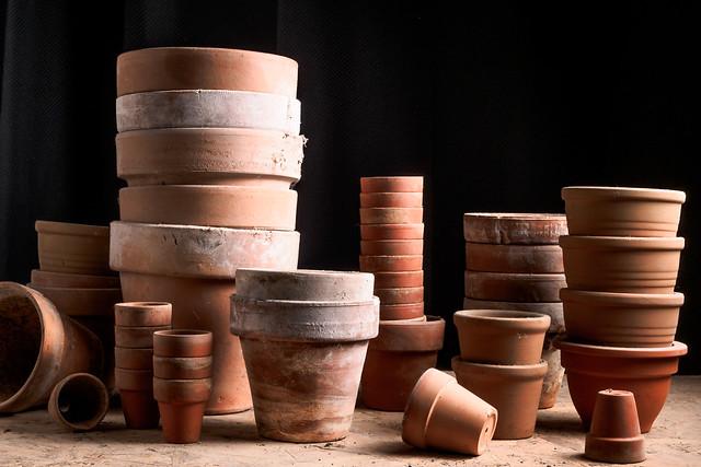 piled planting pots