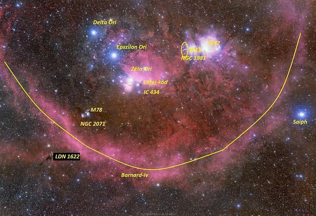 VCSE - A Barnard-ív, az Örion öve (Delta. Epszilon és Zéta Orionis csillagok alkotják) és néhény jellegzetes mélyég-objektum. - Kép: Schmall Rafael, bejelölés: Cs. Sz.