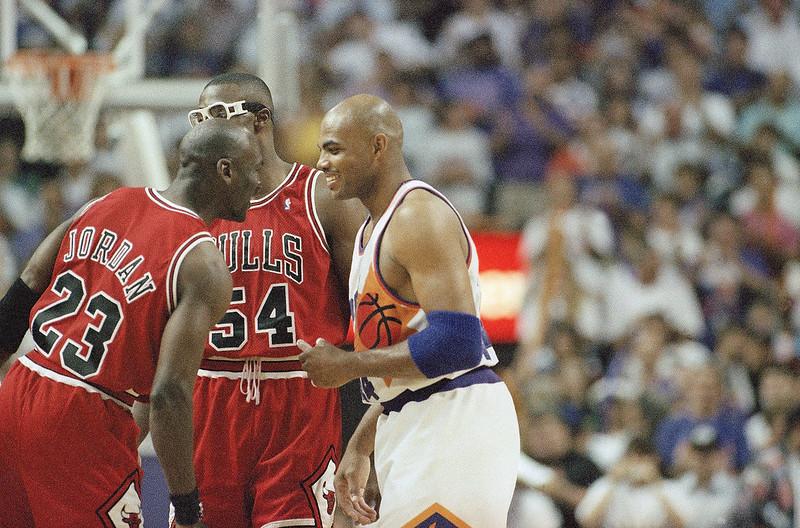 Michael Jordan(左)、Horace Grant(中)與Charles Barkley(右)。(達志影像資料照)