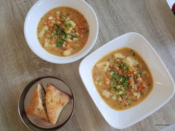 New England Fish Chowder with Ciabatta Toasties