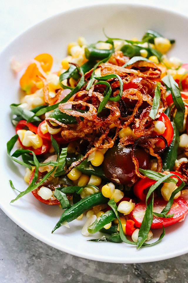 Thai Charred Corn Succotash Salad with Crispy Shallots