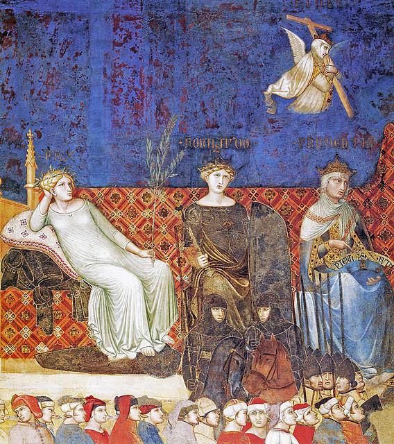 Ambrogio Lorenzetti, Allegoria del Buon Governo (dettaglio Virtues links 12bs) - Palazzo Pubblico, Siena