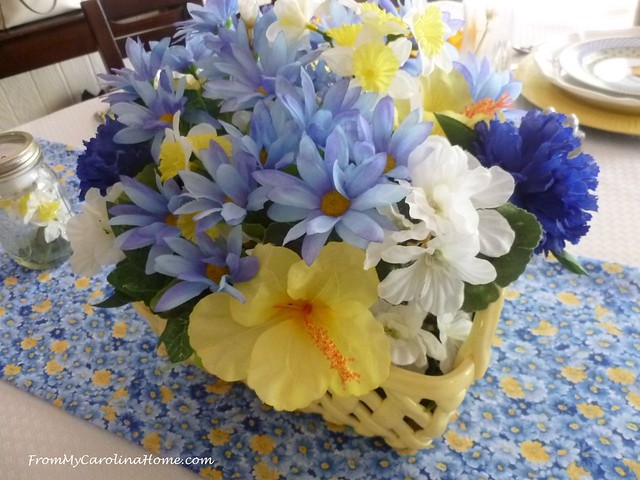 Blue Yellow Tablescape at FromMyCarolinaHome.com