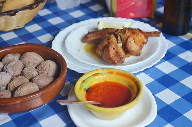 Fried rabbit, papas arrugadas, mojo, La Cueva, Anaga, Tenerife