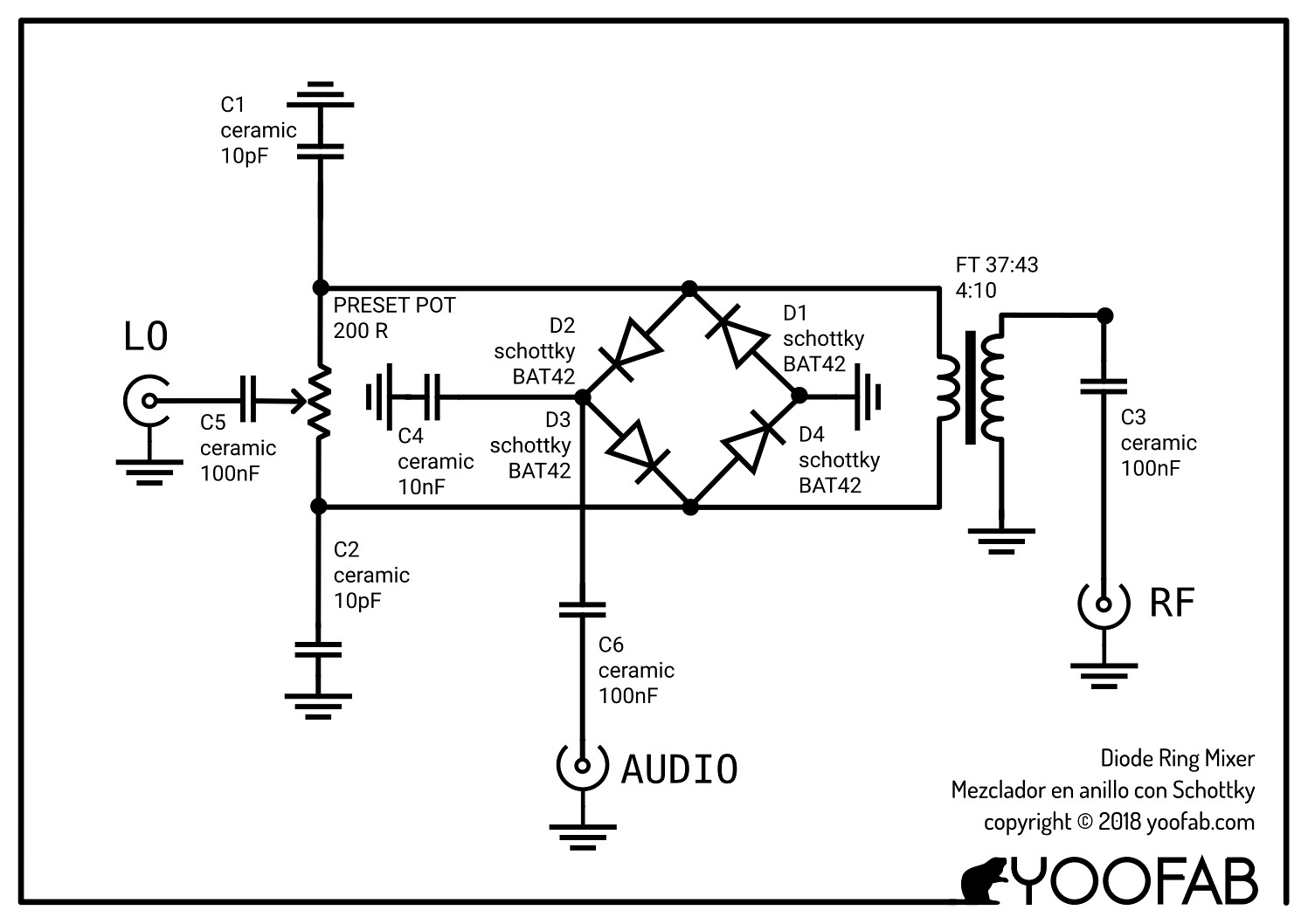 circuit diagram of the YooFab Diode Ring Mixer