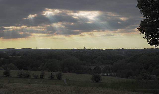 view upon Kornelimünster abbey with divine light