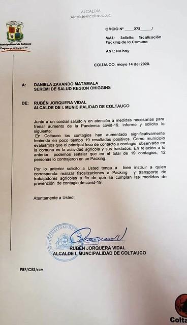Alcalde de Coltauco solicita oficialmente al Ministro de Salud la cuarentena total