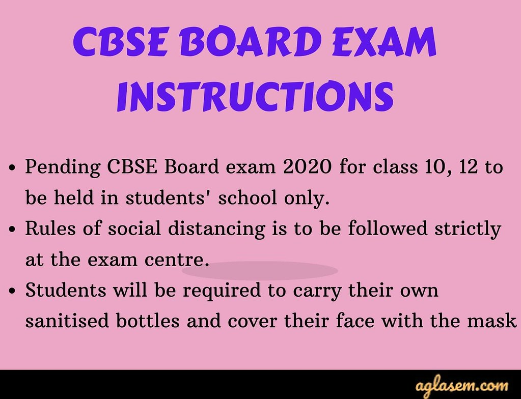 CBSE Board exam  instructions