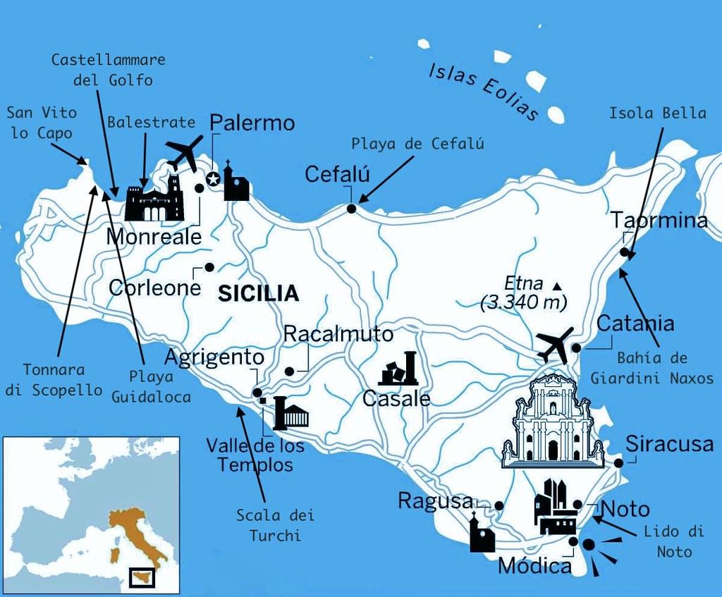Mapa con las mejores playas de Sicilia