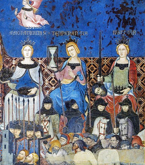 Ambrogio Lorenzetti, Allegoria del Buon Governo (dettaglio Virtues rechts 12b) - Palazzo Pubblico, Siena