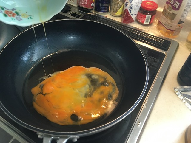 ミョウガの新芽とシャウエッセンの炒飯