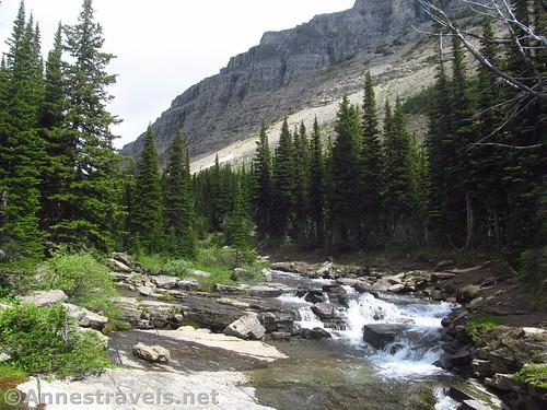 The waterfall below the Piegan Pass/Siyeh Pass trail junction, Glacier National Park, Montana