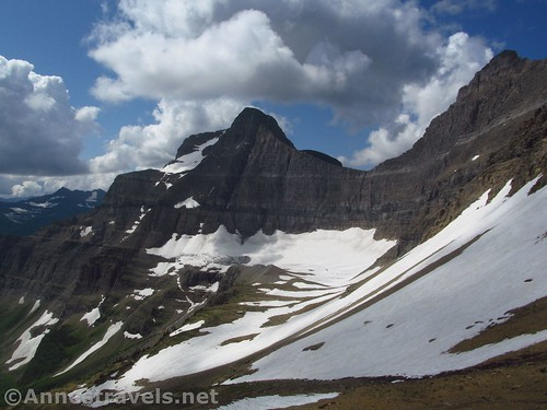 The Saxon Glacier below Going-to-the-Sun Mountain and Mapahti Peak, Siyeh Pass, Glacier National Park, Montana